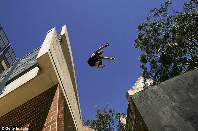 Risky sport: Parkour is a physical discipline rooted in military obstacle course training involving vaults, jumps and other kinds of acrobatics in urban spaces, including rooftops