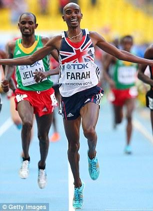 Mo Farah crosses the finish line