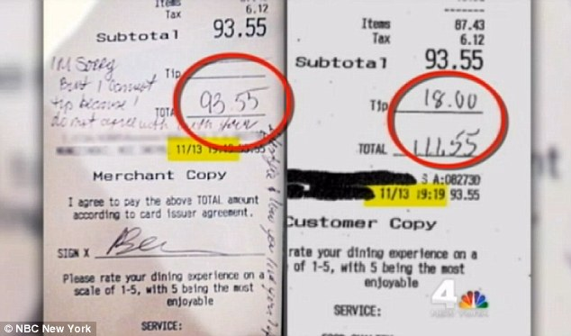 Proof? The controversial receipt (left) shows exactly the same price, time and date of the meal as the family's copy (right) - but does not have the $18 tip the family swear they left bringing the total to $111.55
