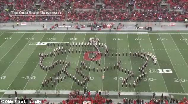 The marching band created impressive formations for the show at the football team's last game of the season