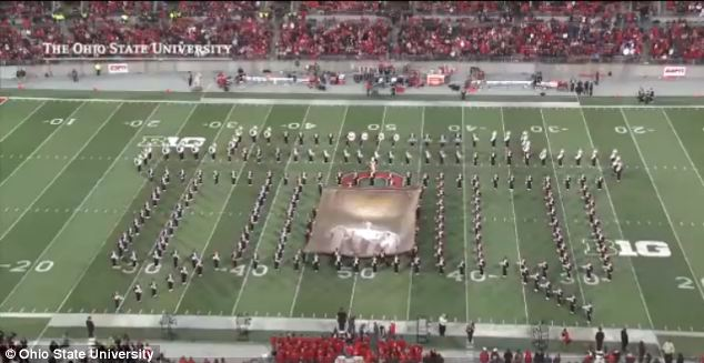 Nicknamed 'the best damn band in the land,' the marching band performed despite the snow