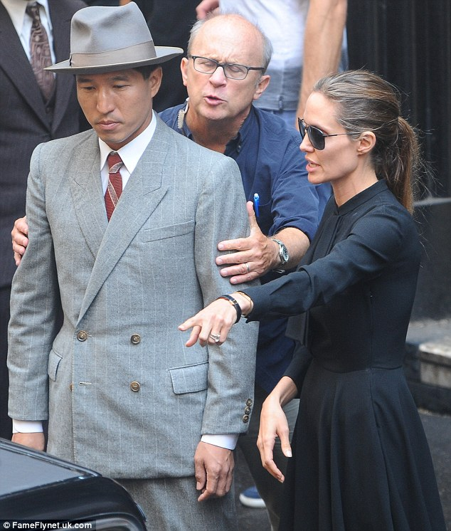 Taking the helm: Angelina was seen filming scenes from her new upcoming movie Unbroken in Pitt St CBD on in Sydney, Australia, last week
