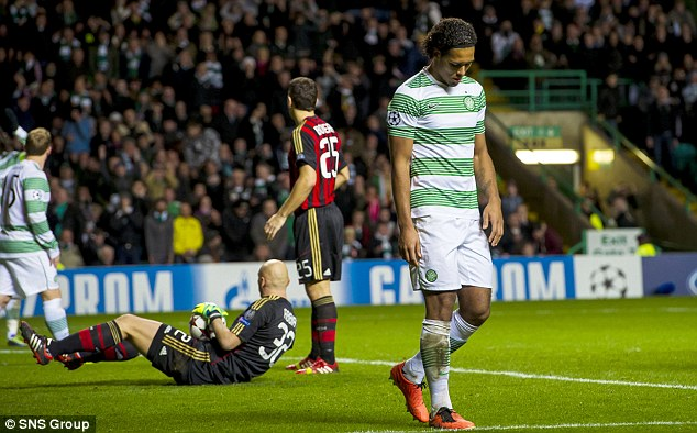 Not his night: Celtic's Virgil Van Dijk looks down after missing from close range