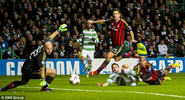 Close shave: Celtic's James Forrest (2nd right) watches as his shot goes narrowly wide