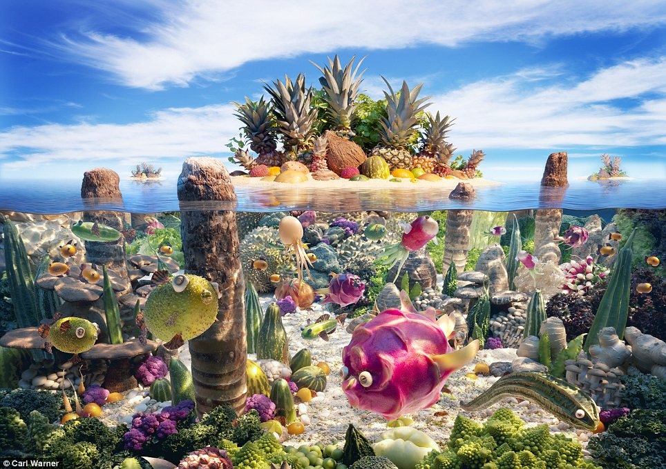 Sea-ing is believing: This amazing Coralscape features pineapples and eggshells