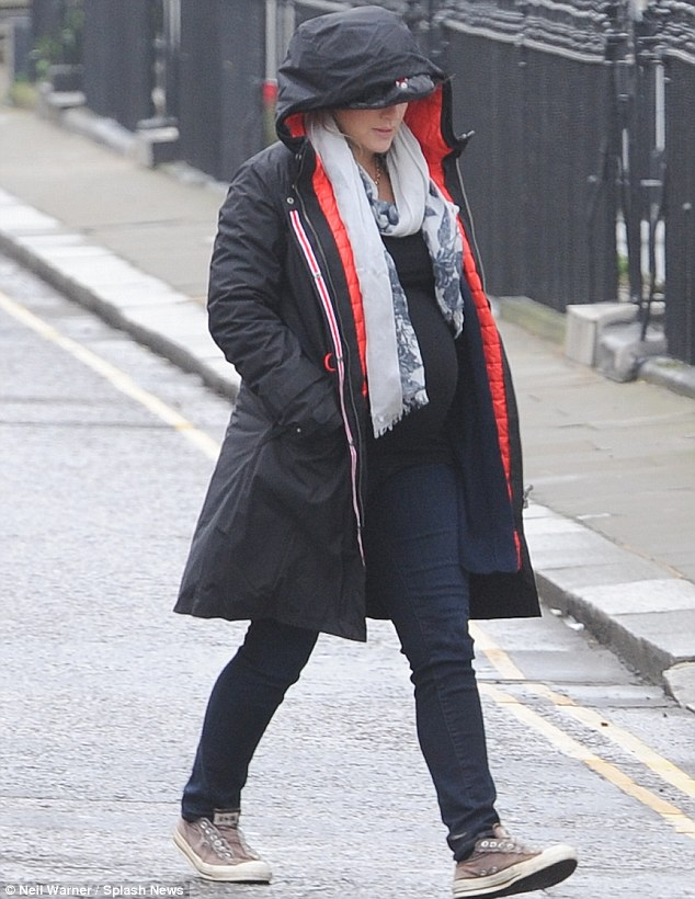 Still keeping active: Kate Winslet was seen out on the Kings Road in Chelsea shopping whilst heavily pregnant