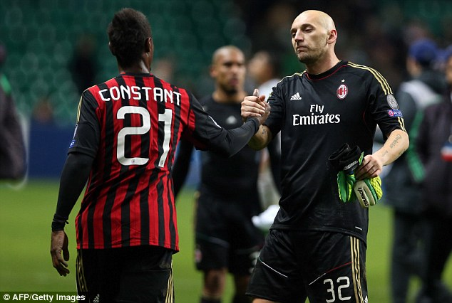 Investigation: AC Milan keeper Christian Abbiati (right) was allegedly targeted by a laser pen during the game