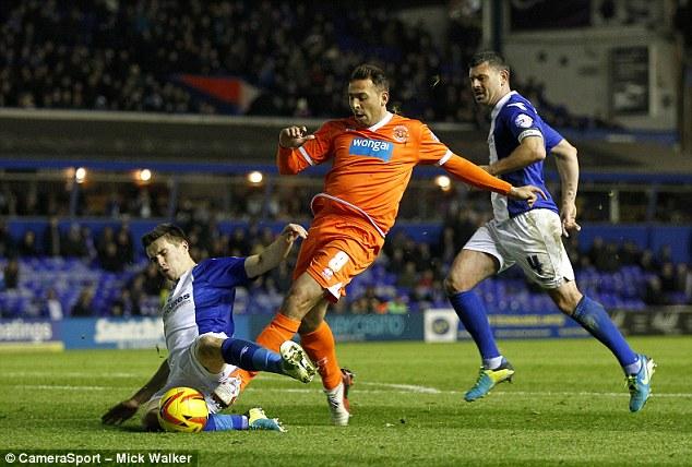 In the dock: Blackpool striker Michael Chopra was in action against Birmingham on Saturday