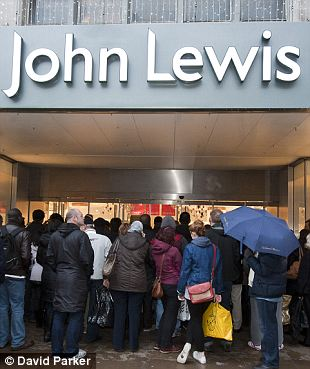 A small number of people wait outside the John Lewis Store in Oxford Street for the start of their sale.