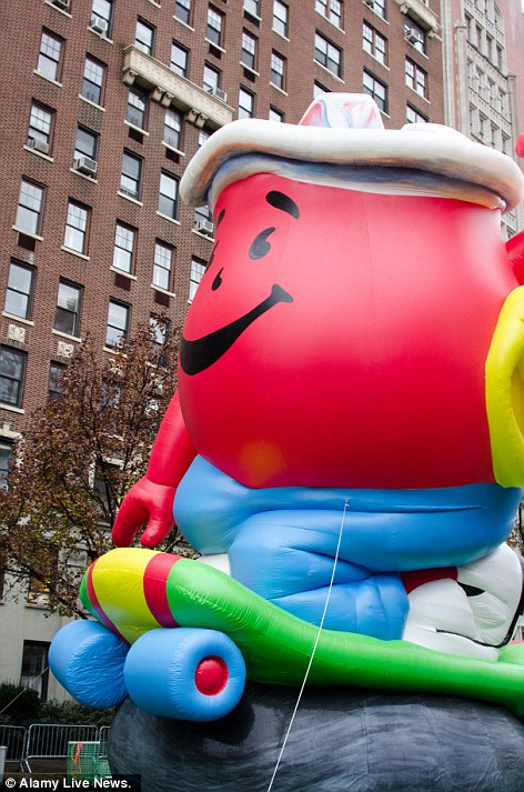 Balloonicles: The Aflac duck and the Kool-Aid man 'ballonicles' join the parade. Ballonicles are self-powered balloon vehicles