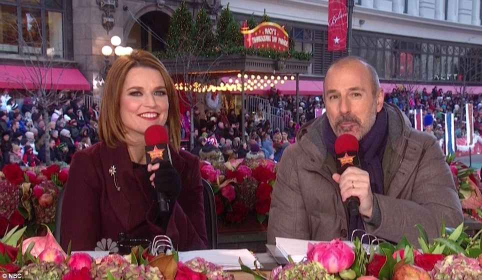 Hosts: Savannah Guthrie and Matt Lauer host the awards along the route with a prime seat to all of the parade's performances. Lauer sports a trimmed beard for men's health awareness