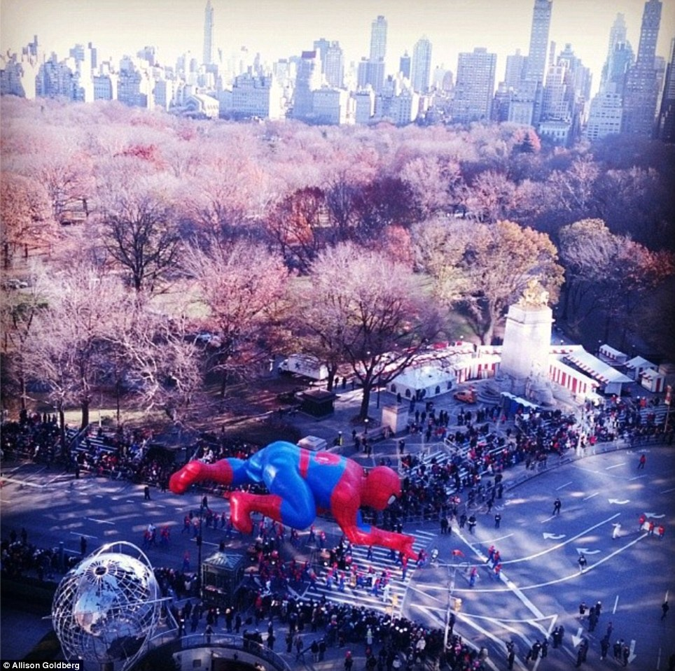 Prime seats: Residents in a Columbus Circle building shared their  beautiful bird's-eye view of the parade