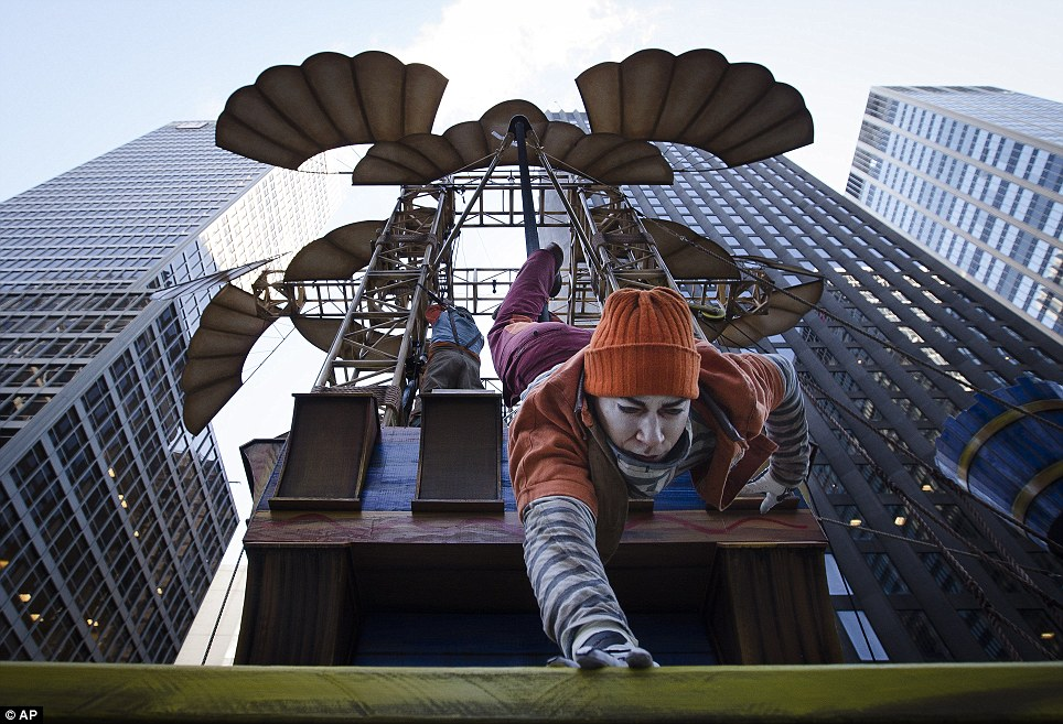 Tricks: Cirque du Soleil put on a special performance on the largest float of the day