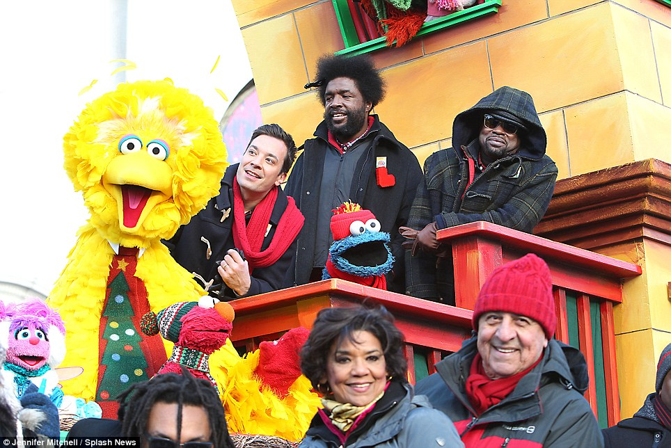 Music time: Jimmy Fallon and his house band the Roots team up with Sesame Street for a special performance