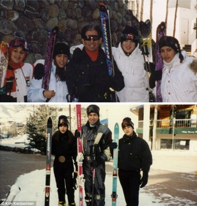 'Thanksgiving was the holiday I spent with my dad skiing every year in Vail': The 33-year-old posted this flashback photo of her family on one of their many childhood skiing trips as she reminisced over the holiday