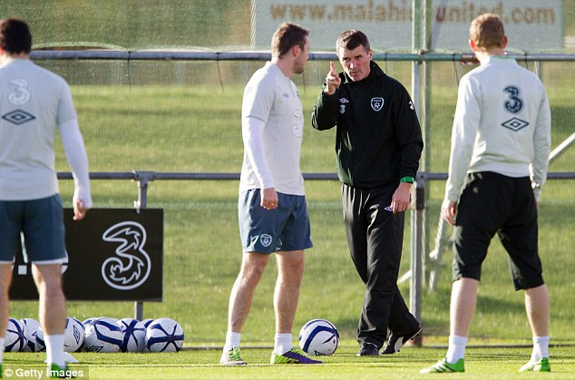 Laying down the law: Roy Keane issues instructions during an Irish training session