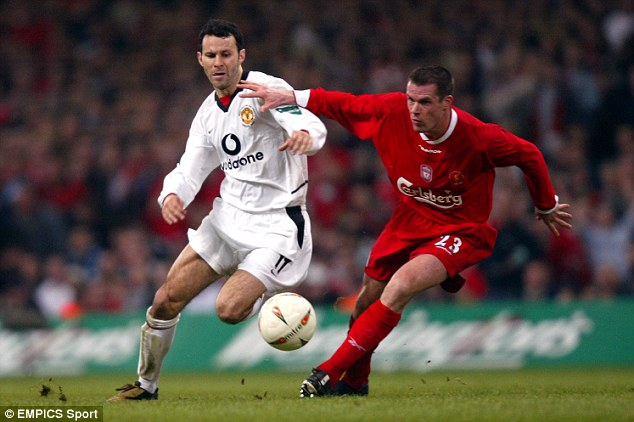Battles: Giggs (left) and Carragher were familiar foes as their respective careers overlapped