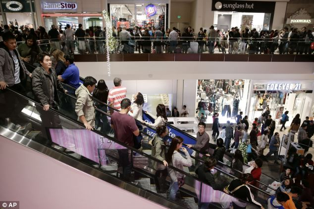 Packed: Shoppers gather in Brea Mall during Black Friday shopping on Friday in Brea, California
