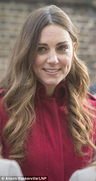 The Duchess with much lighter hair earlier this month