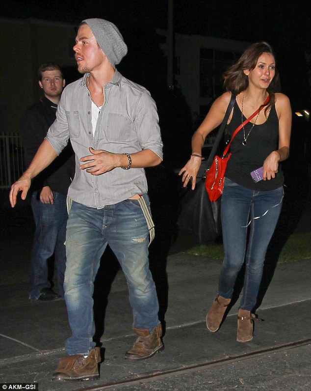 Brief relationship: Derek and Nina, pictured at the beginning of October, split up a few weeks later