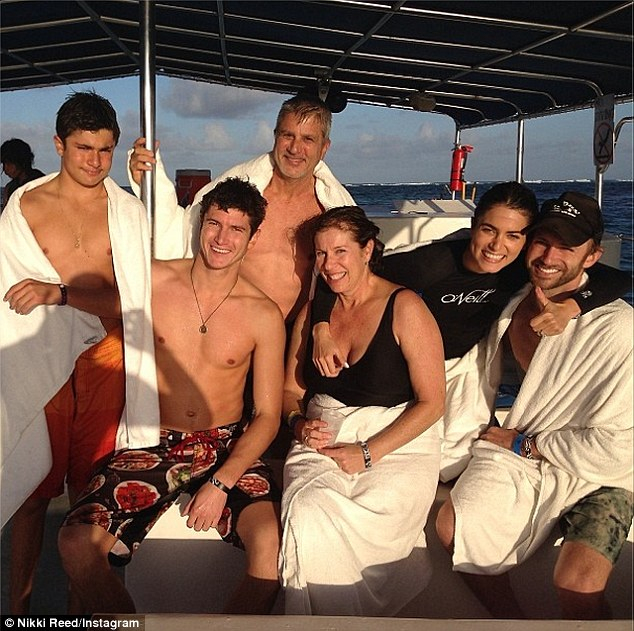 All at sea: Twilight star Nikki Reed also headed out to the deep blue yonder with family, including husband Paul McDonald, soaking up plenty of sunshine and salt water on their small vessel