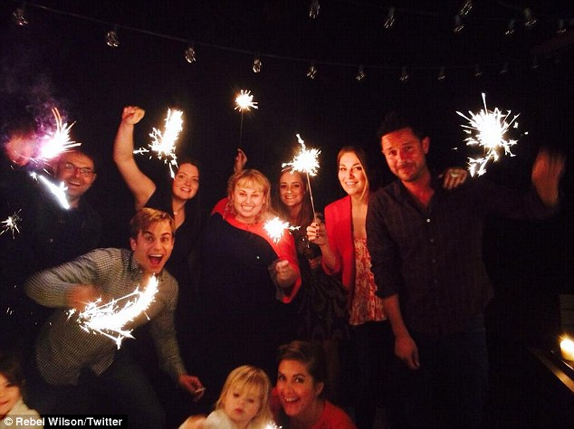 'Superthanksgiving!!' Australian actress Rebel Wilson and her foreign Super Fun Night co-stars embraced their adopted homeland as they got into the Thanksgiving spirit on Thursday with a meal followed by sparklers