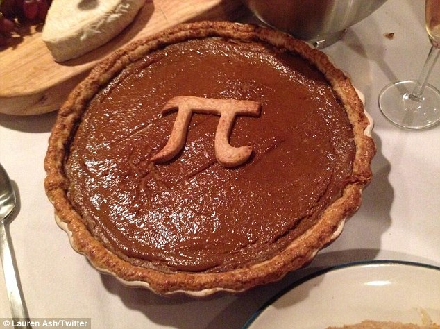 It's a Pi pie! The pals tucked into a rather delicious-looking pumpkin dessert decorated with the mathematical symbol