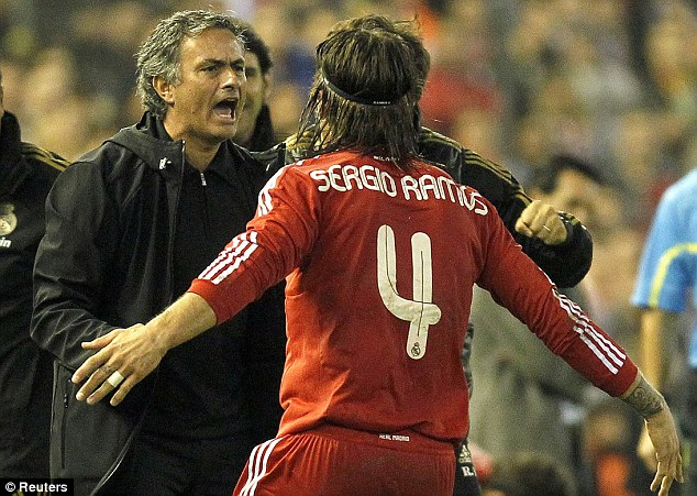 Flare up: Mourinho and Ramos clashed when the Portuguese was at Real Madrid, but would work together again