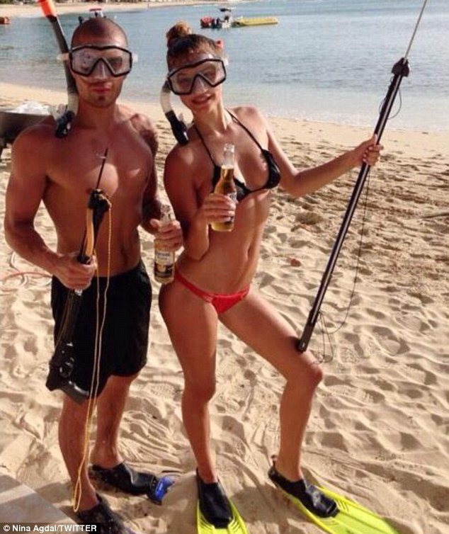 Spear-fishing! The adventurous twosome headed out to catch some fish earlier in the week and Nina shared this picture