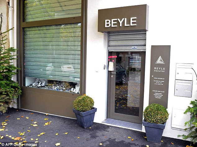 Scene: The jewellery shop in the  Sezanne near Paris where the owner shot dead one of two robbers who had threatened his wife with a gun