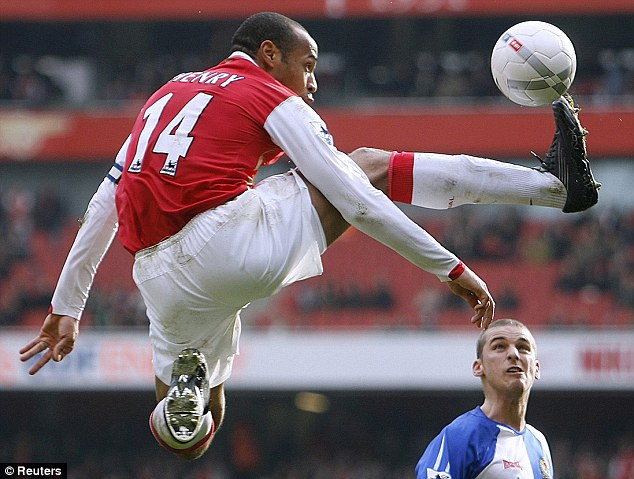 High flyer: Thierry Henry lit up the Premier League, becoming Arsenal's all-time top scorer