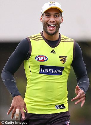 Intervened: Josh Gibson, 29, of Hawthorn football team, reportedly tried to stop May from trying to get back into the club on Monday night after they had been told to leave