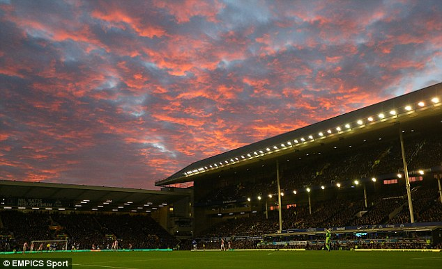 Dramatic scenes: Goodison Park was bathed in glorious light on an entertaining afternoon