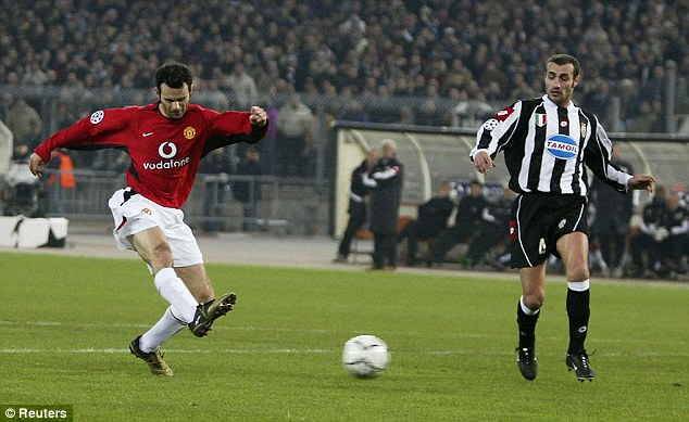 Career soundtrack: Giggs, pictured here scoring against Juventus in the Champions League in 2003, listens to some of Manchester's most famous bands before playing