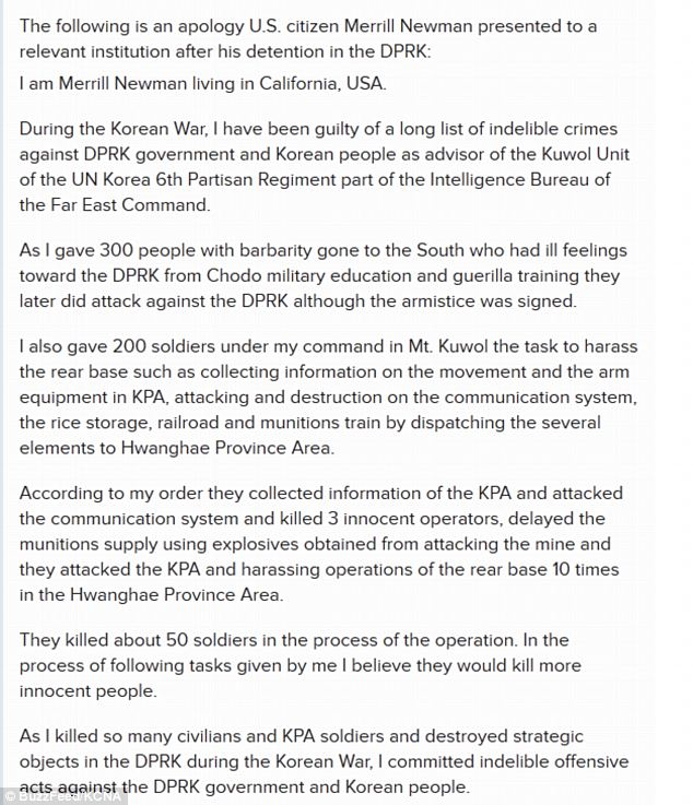 'I am guilty': The full transcript of the poorly-written letter, which has many grammatical errors, was published by the KCNA. It is unknown whether Newman wrote it himself