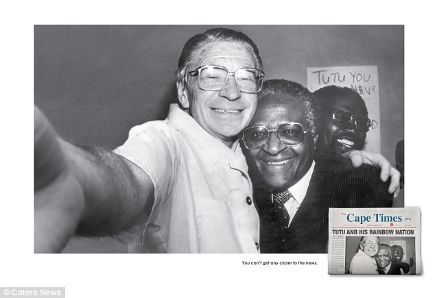 Celebration selfie: Anti-apartheid activist Beyers Naude and Archbishop Desmond Tutu and  celebrate Tutu¿s Nobel peace prize with a selfie in 1984
