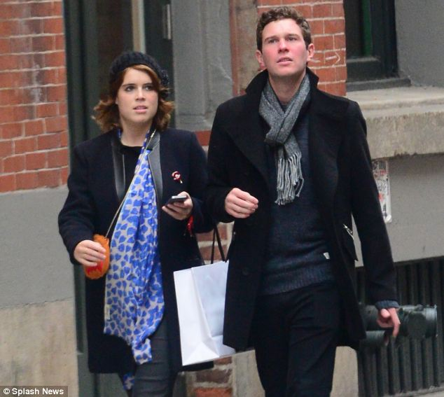 Low-key love: Eugenie and Jack during his visit to see her in New York in October