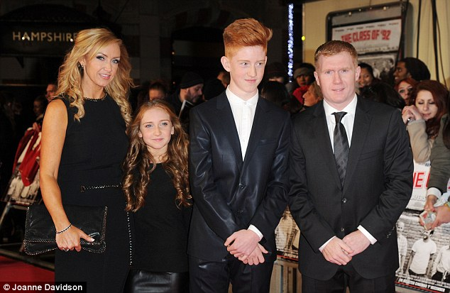 Family man: Paul Scholes and his family looked fabulous in black at the Class of 92 premiere