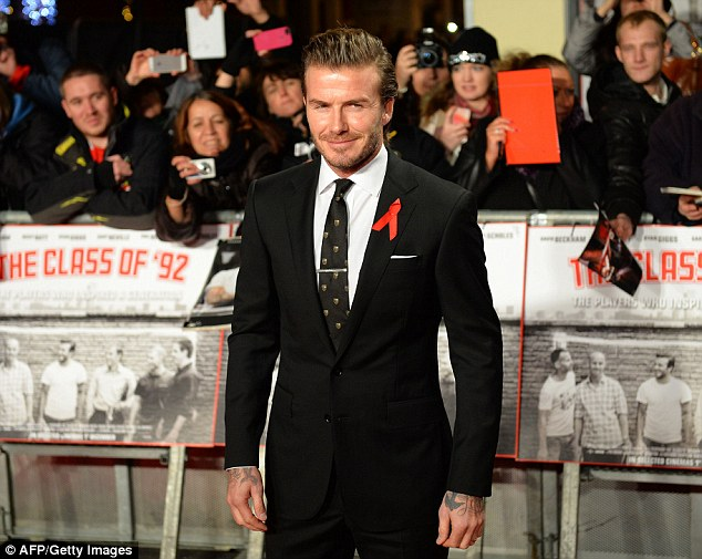 Here's the star of the show: Former Manchester United and England footballer David Beckham posed for pictures as he arrived at the world premiere of the documentary The Class of 92 in London