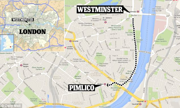 Scenic river walk: It is just a short stroll from the flat Andrew Lansley owns in London's upmarket Pimlico to Westminster, yet despite this he has claimed thousands for hotel stays