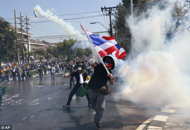 Attack: Demonstrators hurled rocks, bottles and petrol bombs at riot officers, while carrying flags