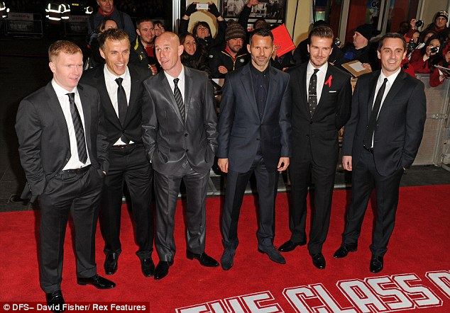 Reunited again: Paul Scholes, Phil Neville, Nicky Butt, Ryan Giggs, David Beckham and Gary Neville are the footballers in The Class of '92
