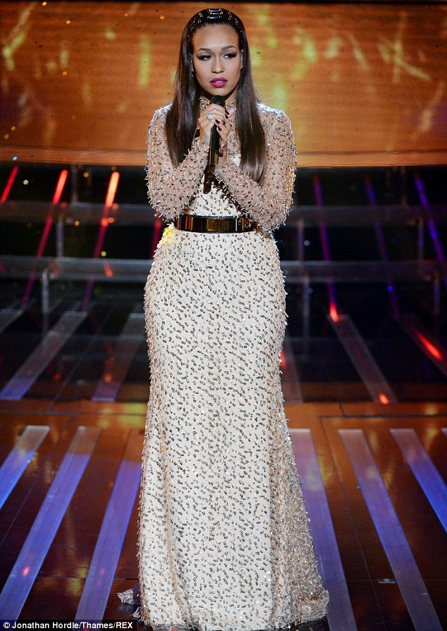 Back on the stage: Sunday night's results show also featured a performance from former contestant Rebecca Ferguson