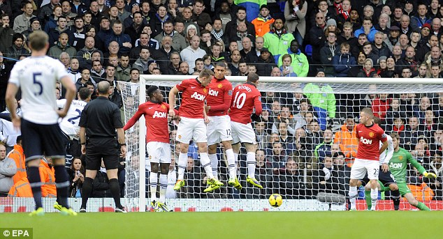 Don't jump! Tottenham's Kyle Walker strikes his free kick under the Man United wall at White Hart Lane