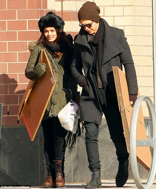 What are those for? Vanessa Hudgens and her beau Austin Butler were seen carrying large cardboard boxes from a UPS store in New York on Saturday