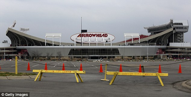 The men reportedly brawled in the parking lot at Arrowhead Stadium in Kansas City (pictured) last night
