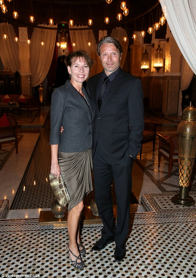 Married life: Danish actor Mads Mikkelsen attended the swanky event with his actress wife Hanne Jacobsen