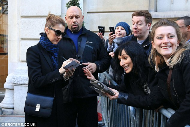 Autograph: Celine took time out of her day to meet and greet fans and sign autographs