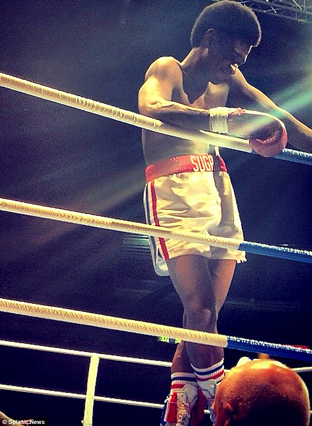 Role of a lifetime: First photos from the Panama film set of the new Sugar Ray Leonard biographical show singer Usher's transformation into a welterweight boxer