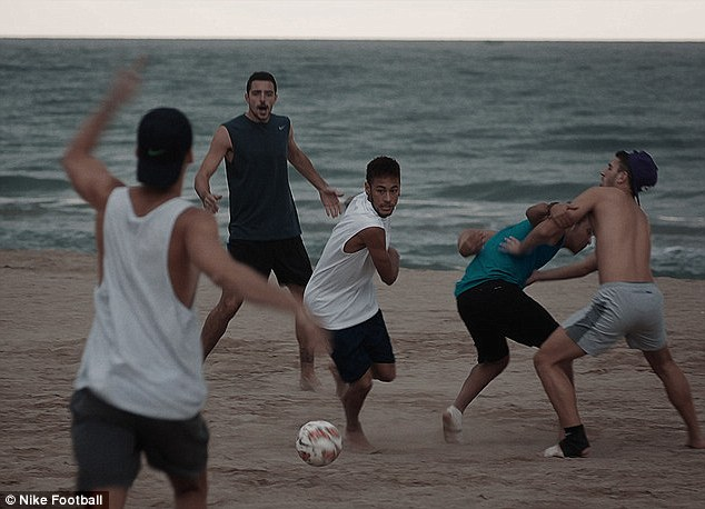 Life's a beach: Neymar dazzles his way through the crowd, showcasing his sublime skill